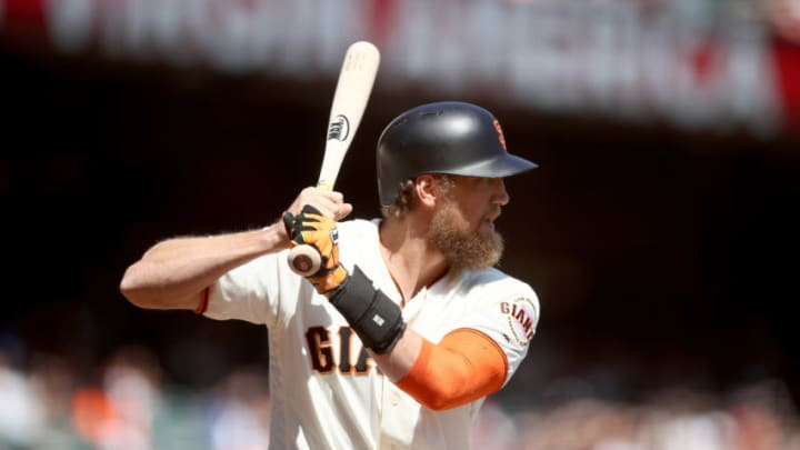SAN FRANCISCO, CA - SEPTEMBER 14: Hunter Pence #8 of the San Francisco Giants bats against the San Diego Padres at AT&T Park on September 14, 2016 in San Francisco, California. (Photo by Ezra Shaw/Getty Images)