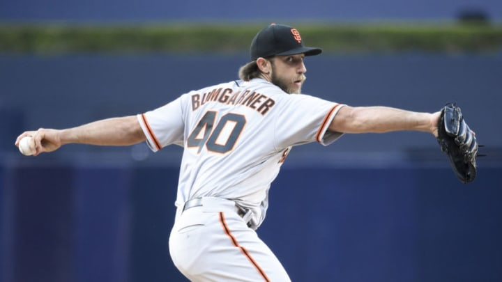 SAN DIEGO, CA - APRIL 8: Madison Bumgarner #40 of the San Francisco Giants pitches during the first inning of a baseball game against the San Diego Padres at PETCO Park on April 8, 2017 in San Diego, California. (Photo by Denis Poroy/Getty Images)