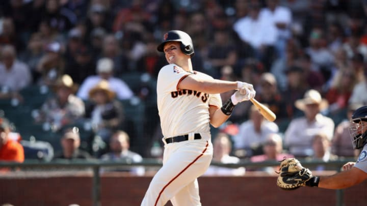 SAN FRANCISCO, CA - APRIL 03: Buster Posey #28 of the San Francisco Giants bats against the Seattle Mariners at AT&T Park on April 3, 2018 in San Francisco, California. (Photo by Ezra Shaw/Getty Images)