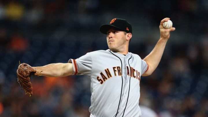 SAN DIEGO, CA - APRIL 13: Ty Blach #50 of the San Francisco Giants pitches during the first inning of a game against the San Diego Padres at PETCO Park on April 13, 2018 in San Diego, California. (Photo by Sean M. Haffey/Getty Images)