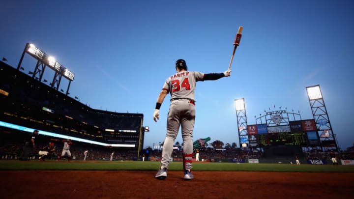 SAN FRANCISCO, CA - APRIL 23: Bryce Harper #34 of the Washington Nationals warms up on the on-deck circle before hitting in the third inning against the San Francisco Giants at AT&T Park on April 23, 2018 in San Francisco, California. (Photo by Ezra Shaw/Getty Images)