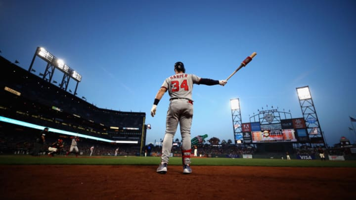 SAN FRANCISCO, CA - APRIL 23: Bryce Harper #34 of the Washington Nationals gets ready to bat against the San Francisco Giants at AT&T Park on April 23, 2018 in San Francisco, California. (Photo by Ezra Shaw/Getty Images)