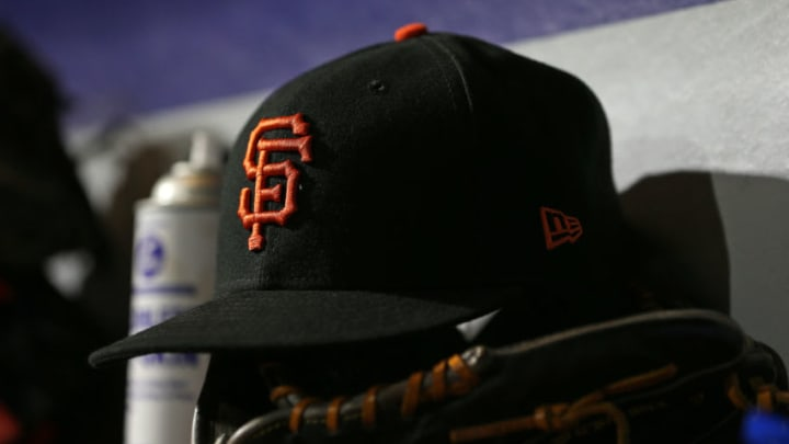 SF Giants hat in the dugout. (Photo by Rich Schultz/Getty Images)
