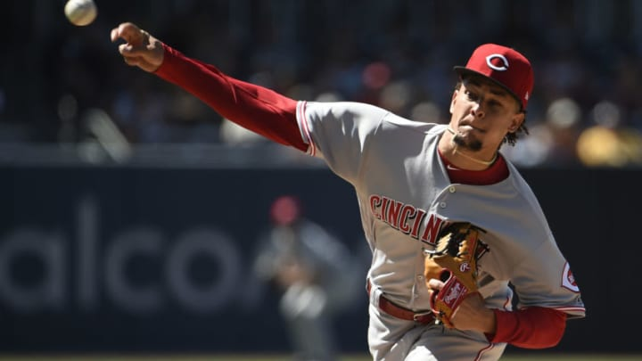 SAN DIEGO, CA - JUNE 3: Luis Castillo #58 of the Cincinnati Reds pitches during the first inning of a baseball game against the San Diego Padres at PETCO Park on June 3, 2018 in San Diego, California. (Photo by Denis Poroy/Getty Images)