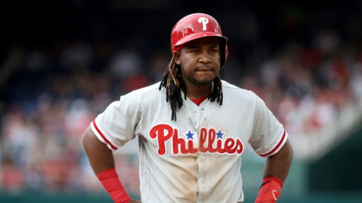 WASHINGTON, DC - JUNE 23 : Maikel Franco #7 of the Philadelphia Phillies looks on during a pitching change against the Washington Nationals at Nationals Park on June 23, 2018 in Washington, DC. (Photo by Rob Carr/Getty Images)