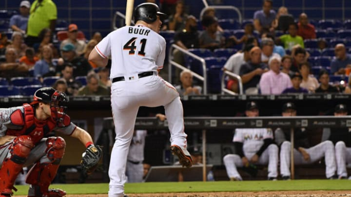 MIAMI, FL - JULY 26: Justin Bour #41 of the Miami Marlins in action against the Washington Nationals at Marlins Park on July 26, 2018 in Miami, Florida. (Photo by Mark Brown/Getty Images)