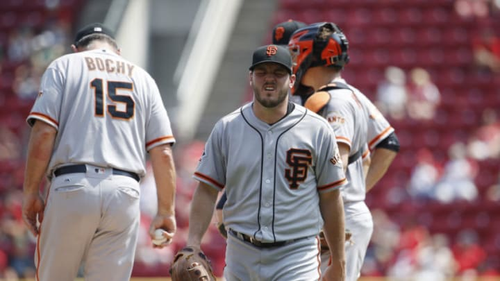 CINCINNATI, OH - AUGUST 19: Ty Blach #50 of the San Francisco Giants reacts after being taken out of the game against the Cincinnati Reds in the sixth inning at Great American Ball Park on August 19, 2018 in Cincinnati, Ohio. The Reds won 11-4. (Photo by Joe Robbins/Getty Images)