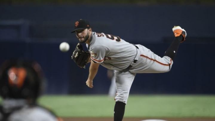 SAN DIEGO, CA - SEPTEMBER 17: Andrew Suarez #59 of the SF Giants pitches during the first inning of a baseball game against the San Diego Padres at PETCO Park on September 17, 2018 in San Diego, California. (Photo by Denis Poroy/Getty Images)