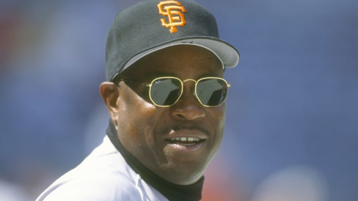 ATLANTA, GA - CIRCA 1995: Manager Dusty Baker #12 of the San Francisco Giants looks on against the Atlanta Braves during a Major League Baseball game circa 1995 at Atlanta-Fulton County Stadium in Atlanta, Georgia. Baker Managed the Giants from 1993-2002. (Photo by Focus on Sport/Getty Images)