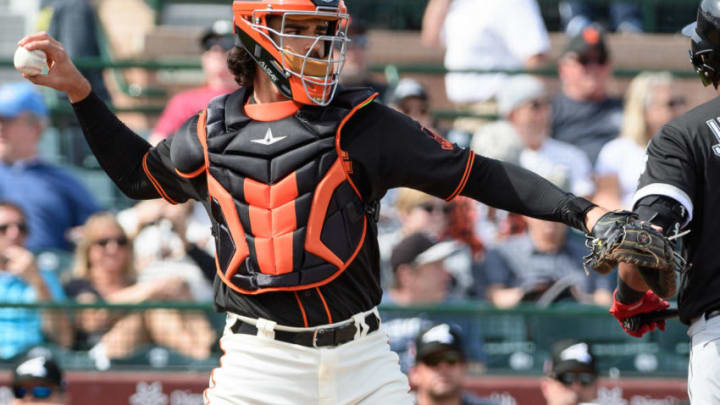 SCOTTSDALE, ARIZONA - FEBRUARY 25: Aramis Garcia #16 of the San Francisco Giants in action during the spring game against the Chicago White Sox at Scottsdale Stadium on February 25, 2019 in Scottsdale, Arizona. (Photo by Jennifer Stewart/Getty Images)