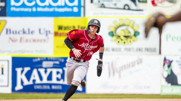 PORTLAND, ME - MAY 27: Mitchell Tolman #19 of the Altoona Curve advances to third base in the eighth inning of the game between the Portland Sea Dogs and the Altoona Curve at Hadlock Field on May 27, 2019 in Portland, Maine. The SF Giants acquired Tolman in the minor-league portion of the Rule 5 draft. (Photo by Zachary Roy/Getty Images)