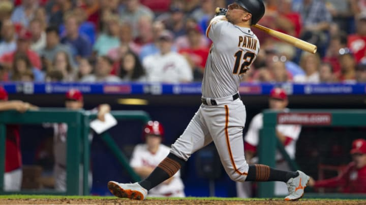 PHILADELPHIA, PA - JULY 31: Joe Panik #12 of the San Francisco Giants bats against the Philadelphia Phillies at Citizens Bank Park on July 31, 2019 in Philadelphia, Pennsylvania. (Photo by Mitchell Leff/Getty Images)