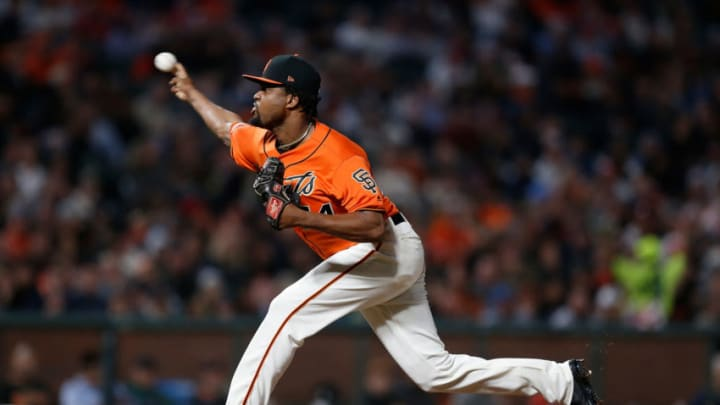 SAN FRANCISCO, CALIFORNIA - AUGUST 09: Jandel Gustave #74 of the San Francisco Giants pitches against the Philadelphia Phillies at Oracle Park on August 09, 2019 in San Francisco, California. (Photo by Lachlan Cunningham/Getty Images)