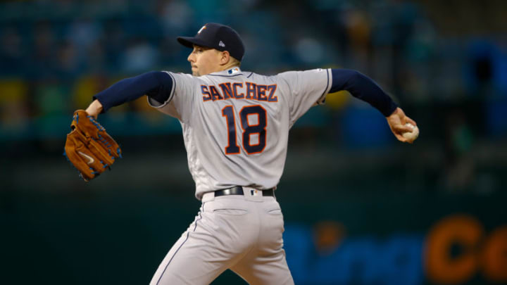OAKLAND, CA - AUGUST 15: Aaron Sanchez #18 of the Houston Astros pitches during the game against the Oakland Athletics at the Oakland-Alameda County Coliseum on August 15, 2019 in Oakland, California. The Athletics defeated the Astros 7-6. Sanchez signed with the SF Giants this offseason. (Photo by Michael Zagaris/Oakland Athletics/Getty Images)