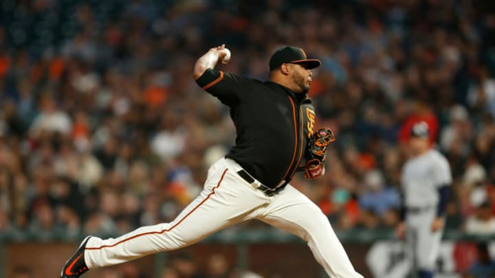 SAN FRANCISCO, CALIFORNIA - AUGUST 31: Reyes Moronta #54 of the San Francisco Giants pitches in the top of the sixth inning against the San Diego Padres at Oracle Park on August 31, 2019 in San Francisco, California. (Photo by Lachlan Cunningham/Getty Images)