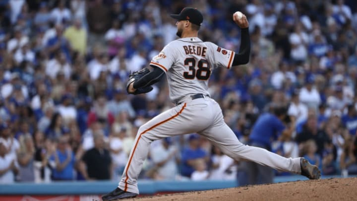 LOS ANGELES, CALIFORNIA - SEPTEMBER 07: Pitcher Tyler Beede #38 of the San Francisco Giants pitches during the second inning of the MLB game against the Los Angeles Dodgers at Dodger Stadium on September 07, 2019 in Los Angeles, California. The Giants defeated the Dodgers 1-0. (Photo by Victor Decolongon/Getty Images)