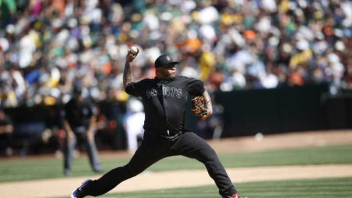Reyes Moronta #54 of the SF Giants pitches during the game against the Oakland Athletics at the Oakland-Alameda County Coliseum on August 25, 2019. (Photo by Michael Zagaris/Oakland Athletics/Getty Images)