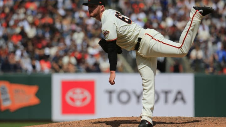 SAN FRANCISCO, CALIFORNIA - APRIL 27: Travis Bergen #60 of the San Francisco Giants pitches against the New York Yankees at Oracle Park on April 27, 2019 in San Francisco, California. (Photo by Daniel Shirey/Getty Images)