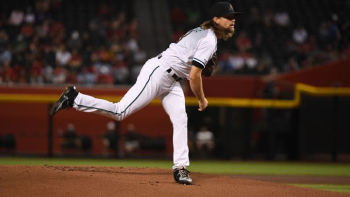 PHOENIX, ARIZONA - SEPTEMBER 24: Mike Leake #8 of the Arizona Diamondbacks delivers a pitch against the St Louis Cardinals at Chase Field on September 24, 2019 in Phoenix, Arizona. (Photo by Norm Hall/Getty Images)