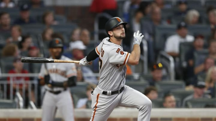 ATLANTA, GEORGIA - SEPTEMBER 21: Outfielder Joey Rickard #37 of the SF Giants bats during the game against the Atlanta Braves on September 21, 2019 in Atlanta, Georgia. (Photo by Mike Zarrilli/Getty Images)