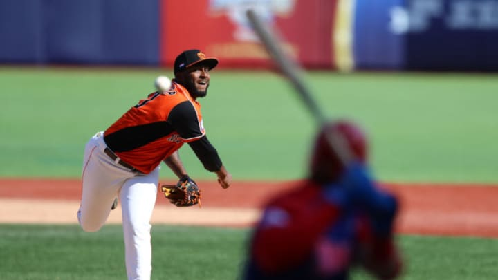 ZAPOPAN, MEXICO - NOVEMBER 03: Franklin Van Gurp #10 of Netherlands pitches during the WBSC Premier 12 Group A match between Dominican Republic and the Netherlands at Estadio de Beisbol Charros de Jalisco on November 3, 2019 in Zapopan, Mexico. (Photo by Refugio Ruiz/Getty Images)