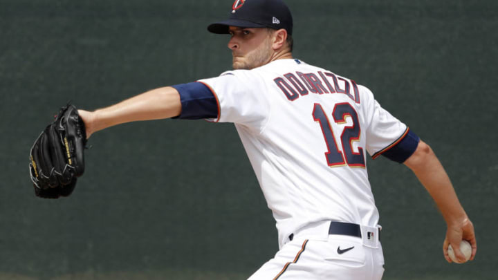 FORT MYERS, FLORIDA - FEBRUARY 26: Jake Odorizzi #12 of the Minnesota Twins warms up prior to the game against the Philadelphia Phillies at Hammond Stadium on February 26, 2020 in Fort Myers, Florida. (Photo by Michael Reaves/Getty Images)