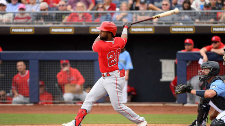 PEORIA, ARIZONA - MARCH 10: Arismendy Alcantara #20 of the Los Angeles Angels follows through on a swing during a spring training game against the Seattle Mariners at Peoria Stadium on March 10, 2020 in Peoria, Arizona. (Photo by Norm Hall/Getty Images)