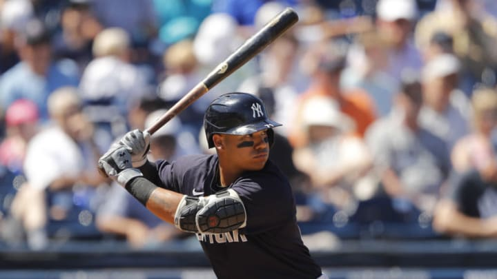 WEST PALM BEACH, FLORIDA - MARCH 12: Thairo Estrada #71 of the New York Yankees at bat against the Washington Nationals during a Grapefruit League spring training game at FITTEAM Ballpark of The Palm Beaches on March 12, 2020 in West Palm Beach, Florida. (Photo by Michael Reaves/Getty Images)