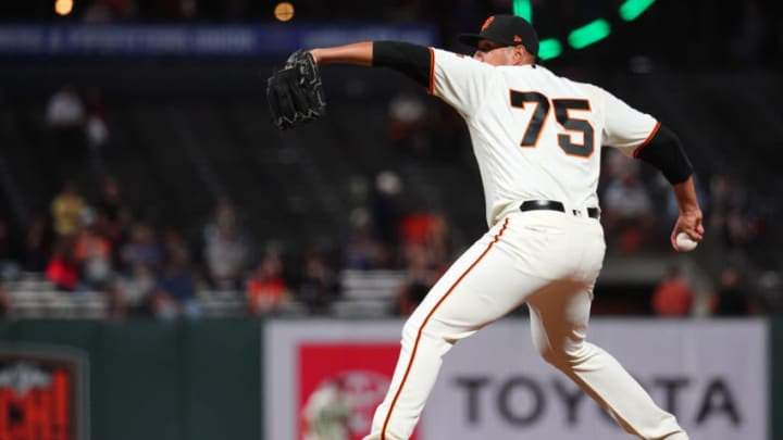 SAN FRANCISCO, CALIFORNIA - SEPTEMBER 24: Enderson Franco #75 of the San Francisco Giants bats during the game against the Colorado Rockies at Oracle Park on September 24, 2019 in San Francisco, California. (Photo by Daniel Shirey/Getty Images)
