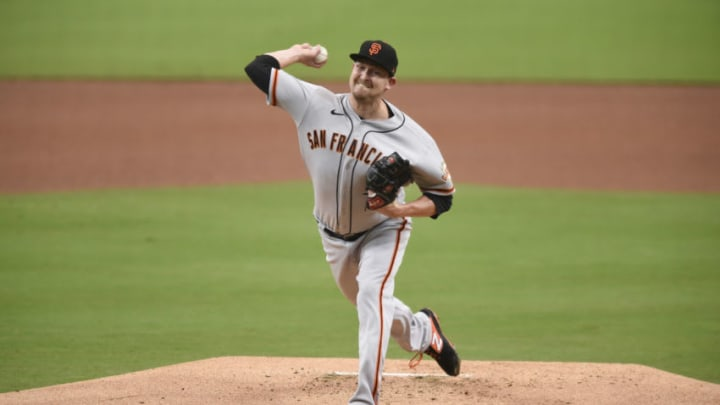 SAN DIEGO, CA - SEPTEMBER 10: Trevor Cahill #53 of the SF Giants pitches during the first inning of a baseball game against the San Diego Padres at Petco Park on September 10, 2020 in San Diego, California. (Photo by Denis Poroy/Getty Images)