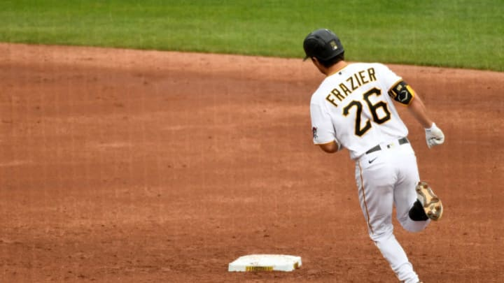 PITTSBURGH, PA - SEPTEMBER 24: Adam Frazier #26 of the Pittsburgh Pirates rounds the bases after hitting a solo home run in the third inning during the game against the Chicago Cubs at PNC Park on September 24, 2020 in Pittsburgh, Pennsylvania. (Photo by Justin Berl/Getty Images)
