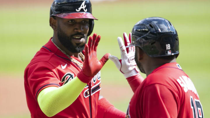 Free-agent outfielder Marcell Ozuna has interest from the SF Giants. (Photo by Carmen Mandato/Getty Images)