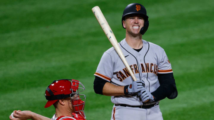 PHILADELPHIA, PA - APRIL 20: Buster Posey #28 of the San Francisco Giants reacts during his at-bat in the sixth inning at Citizens Bank Park on April 20, 2021 in Philadelphia, Pennsylvania. (Photo by Tim Nwachukwu/Getty Images)