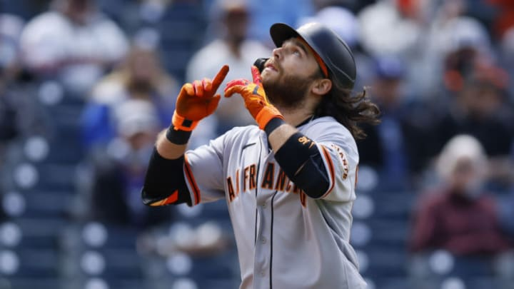 DENVER, CO - MAY 5: Brandon Crawford #35 of the SF Giants points to the sky as he crosses home plate after hitting a two-run home run during the second inning against the Colorado Rockies at Coors Field on May 5, 2021 in Denver, Colorado. (Photo by Justin Edmonds/Getty Images)