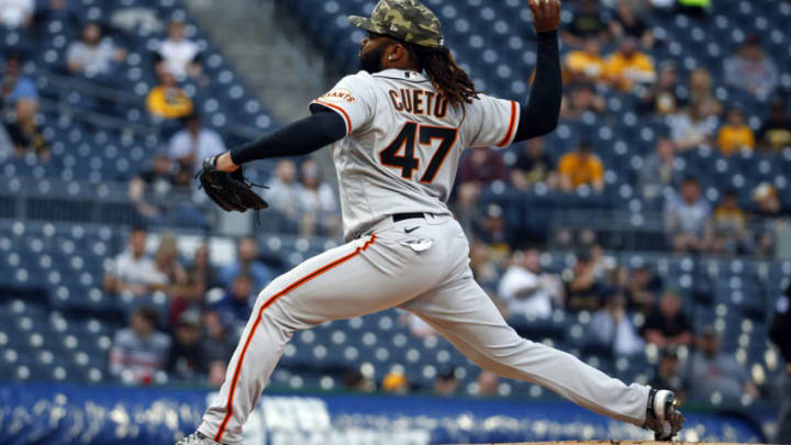 PITTSBURGH, PA - MAY 15: Johnny Cueto #47 of the San Francisco Giants pitches in the first inning against the Pittsburgh Pirates at PNC Park on May 15, 2021 in Pittsburgh, Pennsylvania. (Photo by Justin K. Aller/Getty Images)