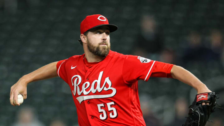 MINNEAPOLIS, MN - JUNE 22: Heath Hembree #55 of the Cincinnati Reds delivers a pitch against the Minnesota Twins in the twelfth inning of the game at Target Field on June 22, 2021 in Minneapolis, Minnesota. The Twins defeated the Reds 7-5 in twelve innings. (Photo by David Berding/Getty Images)