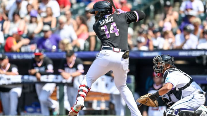 DENVER, CO - JULY 11: Heliot Ramos #14 of National League Futures Team bats against the American League Futures Team at Coors Field on July 11, 2021 in Denver, Colorado Ramos is a prospect in the SF Giants organization.(Photo by Dustin Bradford/Getty Images)