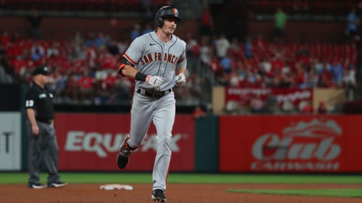 ST LOUIS, MO - JULY 16: Mike Yastrzemski #5 of the San Francisco Giants rounds the bases after hitting his second home run of the game, a three-run home run against the St. Louis Cardinals in the seventh inning, at Busch Stadium on July 16, 2021 in St Louis, Missouri. (Photo by Dilip Vishwanat/Getty Images)