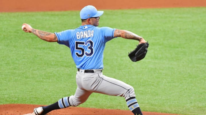 ST PETERSBURG, FLORIDA - JULY 10: Anthony Banda #53 of the Tampa Bay Rays delivers a pitch during a summer workout at Tropicana Field on July 10, 2020 in St Petersburg, Florida. (Photo by Julio Aguilar/Getty Images)