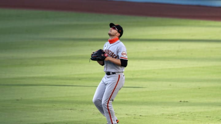 LOS ANGELES, CA - AUGUST 8: Austin Slater #13 of the San Francisco Giants plays right field during the game against the Los Angeles Dodgers at Dodger Stadium on August 8, 2020 in Los Angeles, California. The Giants defeated the Dodgers 5-4. (Photo by Rob Leiter/MLB Photos via Getty Images)