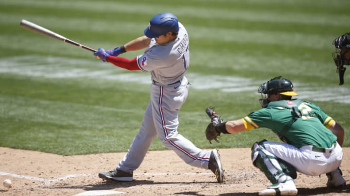 OAKLAND, CA - AUGUST 6: Shin-Soo Choo #17 of the Texas Rangers bats during the game against the Oakland Athletics at RingCentral Coliseum on August 6, 2020 in Oakland, California. The Athletics defeated the Rangers 6-4. (Photo by Michael Zagaris/Oakland Athletics/Getty Images)