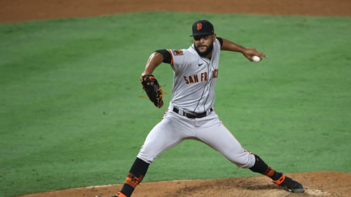 ANAHEIM, CALIFORNIA - AUGUST 17: Jarlin Garcia #76 of the SF Giants pitches during the sixth inning of a game against the Los Angeles Angels at Angel Stadium of Anaheim on August 17, 2020 in Anaheim, California. (Photo by Sean M. Haffey/Getty Images)