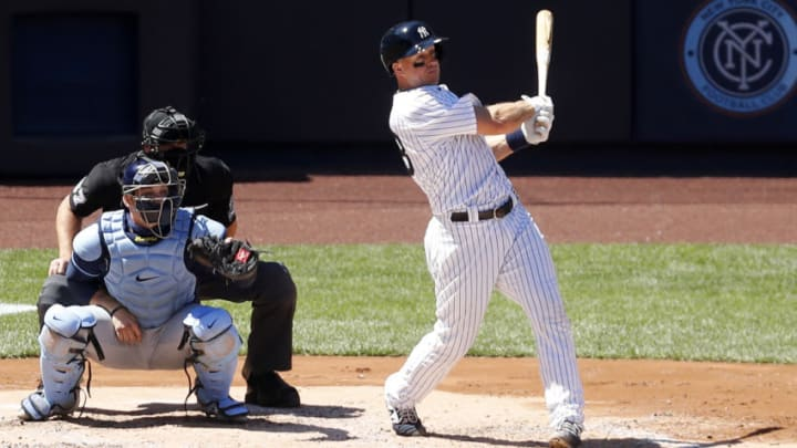NEW YORK, NEW YORK - AUGUST 20: (NEW YORK DAILIES OUT) Erik Kratz #38 of the New York Yankees in action against the Tampa Bay Rays at Yankee Stadium on August 20, 2020 in New York City. The Rays defeated the Yankees 10-5. (Photo by Jim McIsaac/Getty Images)