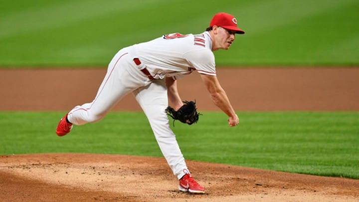 CINCINNATI, OH - SEPTEMBER 14: Anthony DeSclafani #28 of the Cincinnati Reds pitches against the Pittsburgh Pirates during game two of a doubleheader at Great American Ball Park on September 14, 2020 in Cincinnati, Ohio. (Photo by Jamie Sabau/Getty Images)