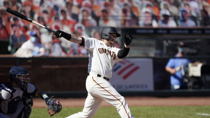 Justin Smoak #46 of the SF Giants bats against the Seattle Mariners in the top of the six inning at Oracle Park on September 17, 2020. (Photo by Thearon W. Henderson/Getty Images)