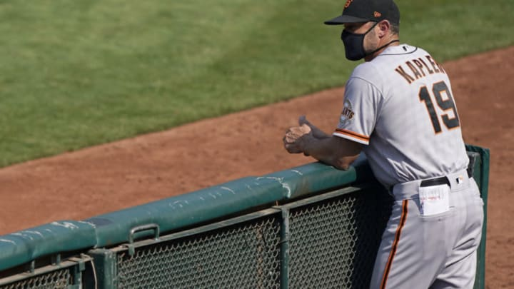 OAKLAND, CALIFORNIA - SEPTEMBER 20: Manager Gabe Kapler #19 of the San Francisco Giants looks on against the Oakland Athletics in the top of the six inning at RingCentral Coliseum on September 20, 2020 in Oakland, California. (Photo by Thearon W. Henderson/Getty Images)