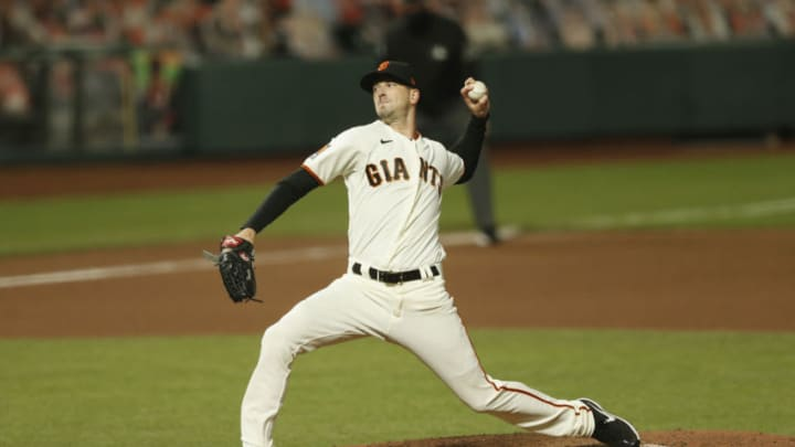 SAN FRANCISCO, CALIFORNIA - SEPTEMBER 22: Drew Smyly #18 of the San Francisco Giants pitches against the Colorado Rockies at Oracle Park on September 22, 2020 in San Francisco, California. (Photo by Lachlan Cunningham/Getty Images)