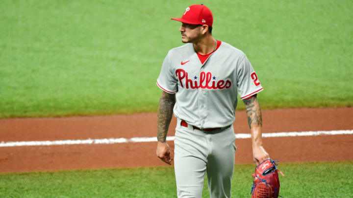 ST PETERSBURG, FLORIDA - SEPTEMBER 25: Vince Velasquez #21 of the Philadelphia Phillies walks off the field after the second inning against the Tampa Bay Rays at Tropicana Field on September 25, 2020 in St Petersburg, Florida. (Photo by Julio Aguilar/Getty Images)