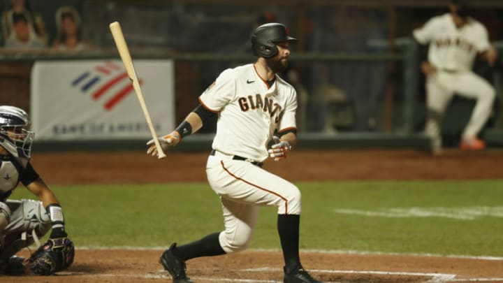 SF Giants first baseman Brandon Belt could be on the move this offseason to a team like the TB Rays. (Photo by Lachlan Cunningham/Getty Images)