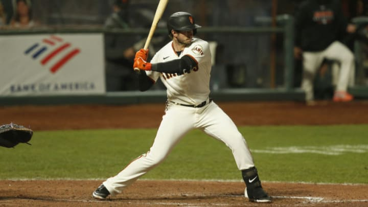 SAN FRANCISCO, CALIFORNIA - SEPTEMBER 23: Daniel Robertson #2 of the San Francisco Giants at bat against the Colorado Rockies at Oracle Park on September 23, 2020 in San Francisco, California. (Photo by Lachlan Cunningham/Getty Images)